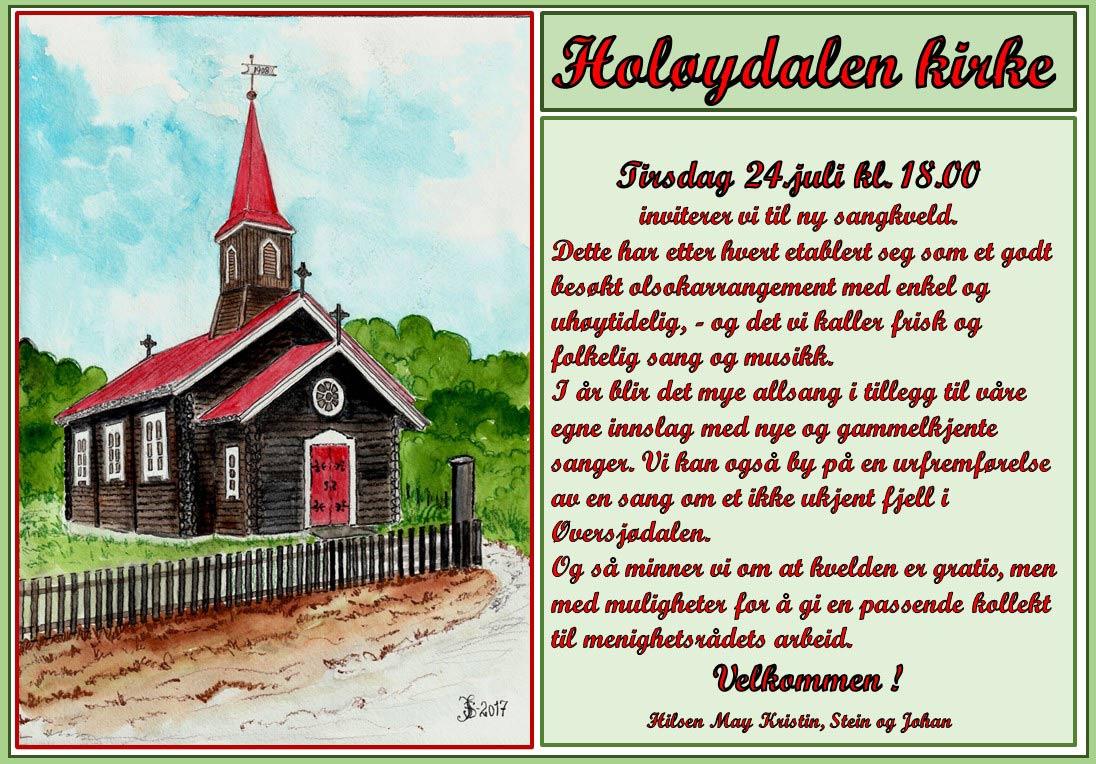 Plakat - konsert i Holøydalen kirke
